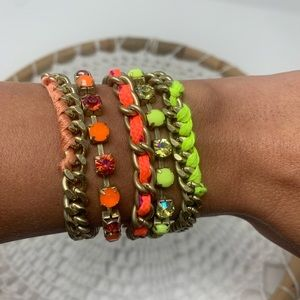 Jewelry - Neon & Gold Bright Stacked Bracelets Beaded Cuff